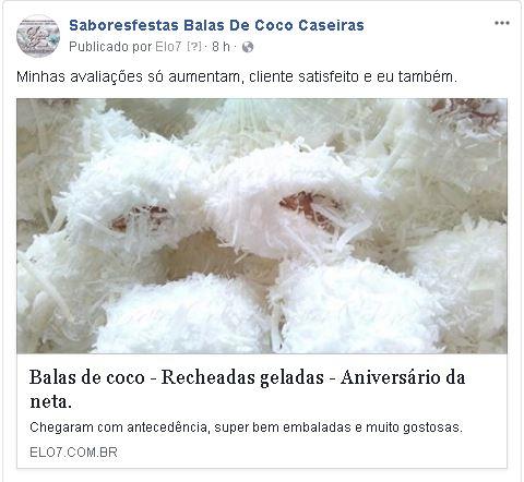 Avaliação sobre a bala de coco feitas por Roberto Jr e Fernanda G